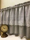 Village white rose lace gray cotton block Home Kitchen window Cafe Curtain