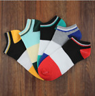5 10 Pairs Mens Low Cut Socks Soft Sports Cotton Striped No-show Socks