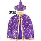 Halloween Witch CLOAK + HAT Costumes For Women Kids Girl Cosplay Props Adult Chi