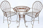 Wrought Iron Swirl Table & 2 Chairs Set - Patio Furniture