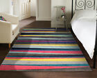 SMALL - LARGE MULTI VIBRANT COLOURFUL GEOMETRIC STRIPED SPECTRUM CARVED SOFT RUG