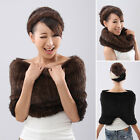 Spring Women's knitting Real Farm Mink fur Cape Shawl Neck Scarves Stole Beauty