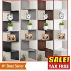 Zig Zag Wall Shelf Hanging Corner 5 Tier Floating Shelves Display Storage Rack