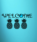 Welcome Text Pineapples Graphic Vinyl Decal Sticker Wall Door Home Decor Choice