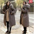 New Winter Womens long Coats Loose Hooded cotton Padded Fur Collar Parka outwear
