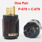 iec power connector - Hi-end Audio Gold Plated C-079 IEC + P-079 US Power plug DIY Cable Connector