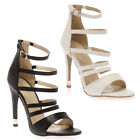 34K WOMENS OPEN TOE LADIES STRAPPY SLIM STILETTO HEEL SANDALS SHOES SIZE 3-8