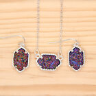 Kv5s Chic Bijoux Framed Oval Druzy Choker Necklace + Drop Earrings Jewelry Set