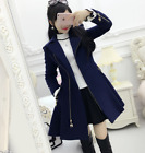 Women's Cute Puffer A Line lapel slim fit wool blend jacket lolita coat trench d