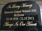 memorial plaque.black granite.engraved  headstone.grave marker