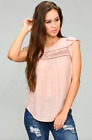 New Women's Tops Mauve Sleeveless Rayon Cotton Polyester Summer