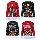 Womens Ladies A Very Merry Christmas Printed Novelty Pom Pom Xmas Knitted Jumper