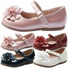 GIRLS SHOES KIDS CHILDRENS FLAT BALLET PUMPS OCCASION BRIDESMAID FLOWER SIZE NEW