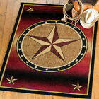 Red Rust Texas Star Western  Rug Various Sizes and Shapes with FREE Shipping