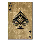 "Rubber Backed Ace of Spades Design Non-Slip Area Rug 5' x 6'6"" or 3'3"" x 4'7"""