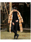 Cool Men's Real Red/Silver Fox Fur Coat Full Pelt Thick Jacket Overcoat Winter