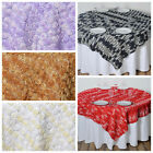 "72x72"" Ombre Raised Mini Roses TABLE OVERLAY Wedding Party Catering Linens SALE"
