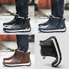 Men's Warm Classic PU Leather Snow Boot with Fur Lined Soft Warm Enough
