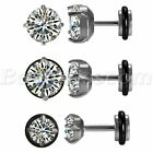 2pcs Men's Women's Stainless Steel Charm Round Cubic Zirconia Ear Studs Earrings