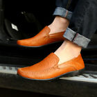 Men's Leather Casual Slip on Loafers Shoes Smooth Vamp Breathable Driving Shoes