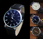 Mens Womens Stainless Steel Leather Casual Military Analog Quartz WristWatches