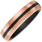 partner-ring Finger Ring Carbon with 585 Gold Rose Gold Matte Black Striped