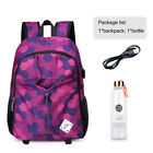 US Large Laptop Notebook Backpack USB Charging Port School Bag With Water Bottle