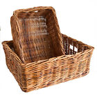 Oblong Rattan Wicker Under-bed Shallow Storage Basket in Choice of 2 sizes.
