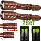 Flashlight Tactical Zoomable Focus200000LUMENS XML T6 LED+Charger 18650Battery E