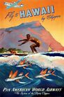Hawaii by Clipper Pan American Airways Vintage Travel Poster Reproduction