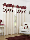 Faux Silk Ready Made Cream + Red Poppy Flower Design Ring Top Eyelet Curtains