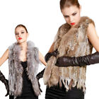 100%Real Knitted Genuine Rabbit Fur Raccoon Collar Long Vest Gilet Waistcoat