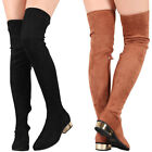 Women Stretch Fitted Vegan Suede Over The Knee High Boot Gold Med Low Block Heel