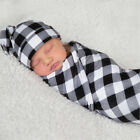 Newborn Baby Infant Swaddle Blanket Sleeping Swaddle Muslin Wrap+Headband