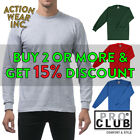 PROCLUB PRO CLUB MENS PLAIN LONG SLEEVE T SHIRT HEAVYWEIGHT COTTON TEE ACTIVE image