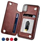 For iPhone X 8 Plus 6 7 5 SE Magnetic Leather Case Flip Card Holder Wallet Cover