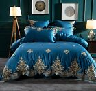 100%Egyptian Cotton Soft Gold Embroidered Imperial Duvet Cover Bedding Set UPS image