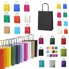 5 COLOURED TWISTED HANDLE KRAFT PAPER CARRIER BAGS, Free & Fast Shipping