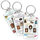 January Day You Were Born Keyrings - Great Gift Idea (Choose Your Day)