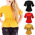 Womens Ladies Scoop Neck Short Sleeves Frill Peplum Details Stretchy Top Blouse