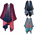 Winter Women Cashmere Scarf Patchwork Poncho Wool Wrap Shawl Cloak Mud Point Hot