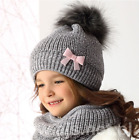 Girls Hats With tube Scarf - 2pcs set/ Fox Fur Pompon /Made in EU/ 4 - 7 YEARS