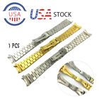 20MM Curved End President Gold Watch Band Solid Stainless Steel Strap Bracelet image