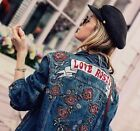 ZARA DENIM ROSES EMBROIDERED JACKET BEADS JEANSJACKE JACKE STICKEREI ROSEN S M L