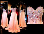 Women Stone Chiffon Long Prom Dress Party Pageant Formal Evening Gowns Custom