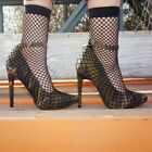 New Womens Pointy Toe Fishnet Mesh Sock Pump Shoes Booties Ankle Strap High Heel