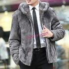 Winter Men's Thicken Faux Fur Warm Jackets Hooded Party Coats Business Outwear