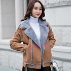 Thicken Fashion Women's Faux Suede Biker Jackets Warm Fur Lined Coats Outwear