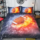 5D Fire Rugby Football Flame Basketball Duvet Cover Sets Bedding Quilt Cover 3pc