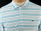 Men's Vineyard Vines Armstrong Three Color Stripe Performance Polo-White Cap-NWT